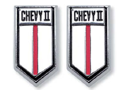 EMBLEMS, 66-67 CHEVY II DOOR PANEL - PAIR