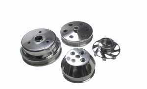 BILLET POLISHED SERPENTINE BELT PULLEY KIT - SMALL BLOCK - MUST USE REVERSE FLOW LONG WATER PUMP