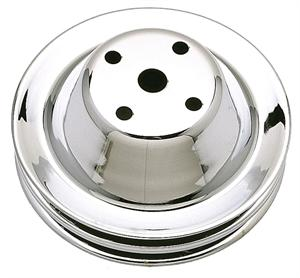 PULLEY, SMALL BLOCK LONG WATER PUMP FAN CHROME-2GROOVE