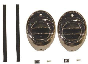 AIR VENT BALL & BEZEL KIT, 66-67 CHEVELLE/ EL CAMINO CHROME