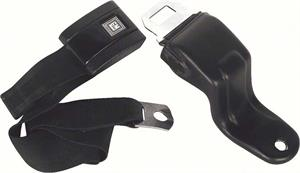 SEAT BELT, 67-69 CAMARO STANDARD FRONT BUCKET BLACK - RETRACTABLE