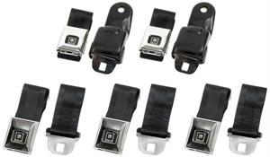 SEAT BELTS, 68-69 CAMARO DELUXE FRONT AND REAR SET - BLACK