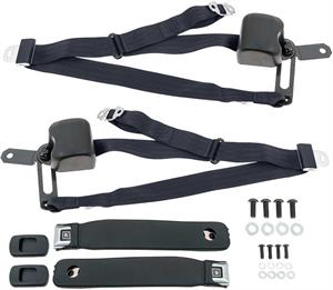 SEAT BELTS, 67-69 CAMARO 3 POINT PAIR BLACK