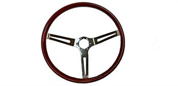 STEERING WHEEL, 3 SPOKE MAHOGANY WOOD