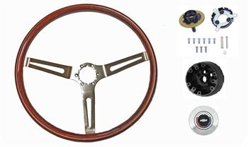 STEERING WHEEL KIT, 3 SPOKE MAHOGANY WOOD