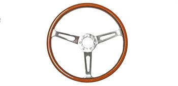 STEERING WHEEL, 3 SPOKE WALNUT WOOD