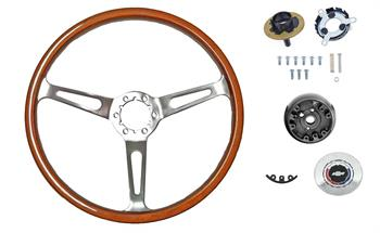 STEERING WHEEL KIT, 3 SPOKE WALNUT WOOD