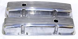 VALVE COVERS, POLISHED ALUMINUM SMALL BLOCK-FINNED-PAIR