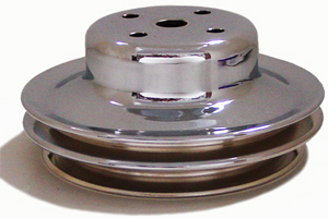 PULLEY, BIG BLOCK LONG WATER PUMP FAN 2 GROOVE-CHROME