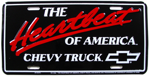 PLATE, HEARTBEAT CHEVY TRUCK LICENSE