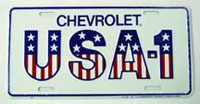 PLATE, USA-1 LICENSE -RED WHITE BLUE